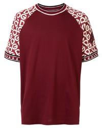 T-shirt girocollo stampata bordeaux di Dolce & Gabbana