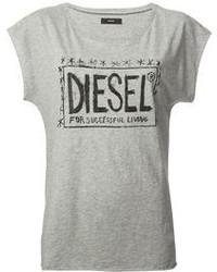 T-shirt girocollo stampata grigia