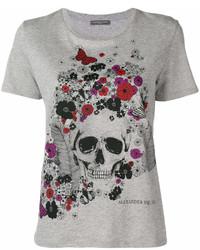 T-shirt girocollo stampata grigia di Alexander McQueen