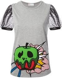 T-shirt girocollo stampata grigia di Valentino