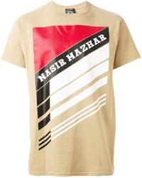 T-shirt girocollo stampata marrone chiaro