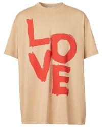 T-shirt girocollo stampata marrone chiaro di Burberry