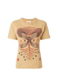 T-shirt girocollo stampata marrone chiaro di Chloé