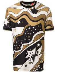 T-shirt girocollo stampata marrone chiaro di Dolce & Gabbana