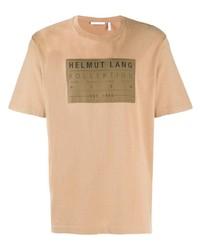 T-shirt girocollo stampata marrone chiaro di Helmut Lang