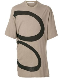 T-shirt girocollo stampata marrone chiaro di Julius