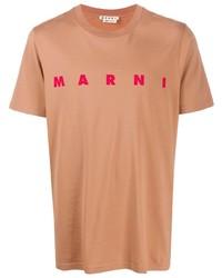 T-shirt girocollo stampata marrone chiaro di Marni