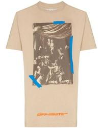 T-shirt girocollo stampata marrone chiaro di Off-White