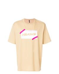 T-shirt girocollo stampata marrone chiaro di Versus