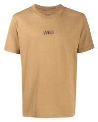 T-shirt girocollo stampata marrone chiaro di White Mountaineering