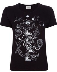 T-shirt girocollo stampata nera e bianca