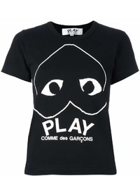 T-shirt girocollo stampata nera e bianca di Comme des Garcons