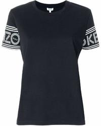 T-shirt girocollo stampata nera e bianca di Kenzo