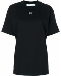 T-shirt girocollo stampata nera e bianca di Off-White