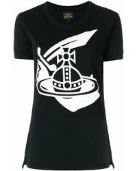 T-shirt girocollo stampata nera e bianca di Vivienne Westwood