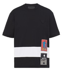 T-shirt girocollo stampata nera di Prada