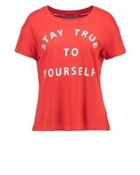 T-shirt girocollo stampata rossa di Even&Odd