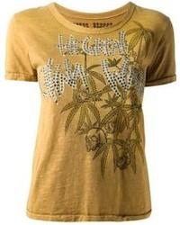 T-shirt girocollo stampata senape