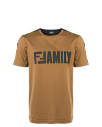 T-shirt girocollo stampata terracotta di Fendi