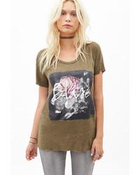 T-shirt girocollo stampata verde oliva