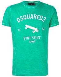 T-shirt girocollo stampata verde