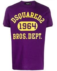 T-shirt girocollo stampata viola di DSQUARED2