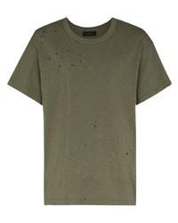 T-shirt girocollo verde oliva di Amiri