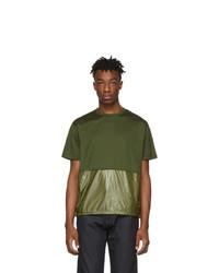 T-shirt girocollo verde oliva di Moncler