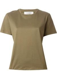 T-shirt girocollo verde oliva di Valentino