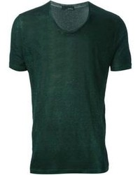 T-shirt girocollo verde scuro