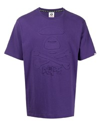 T-shirt girocollo viola di AAPE BY A BATHING APE