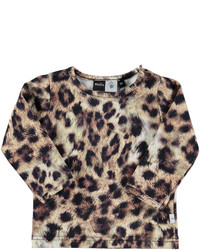 T-shirt leopardata marrone chiaro