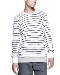 T-shirt manica lunga a righe orizzontali bianca e blu scuro