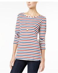 T-shirt manica lunga a righe orizzontali bianca e rossa e blu scuro
