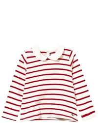 T-shirt manica lunga a righe orizzontali bianca e rossa