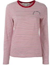 T-shirt a maniche lunghe a righe orizzontali bianca e rossa