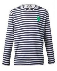 T-shirt manica lunga a righe orizzontali blu scuro e bianca