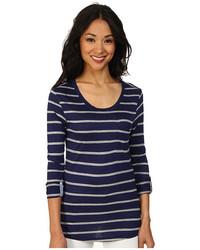 T-shirt manica lunga a righe orizzontali blu scuro