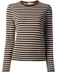 T-shirt a maniche lunghe a righe orizzontali marrone di Michael Kors