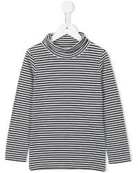 T-shirt manica lunga a righe orizzontali nera e bianca