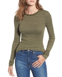 T-shirt manica lunga a righe orizzontali verde oliva