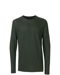 T-shirt manica lunga a righe orizzontali verde scuro