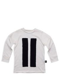 T-shirt manica lunga a righe verticali bianca
