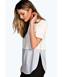 T-shirt manica lunga in rete bianca