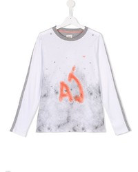 T-shirt a maniche lunghe stampata bianca di Armani Junior