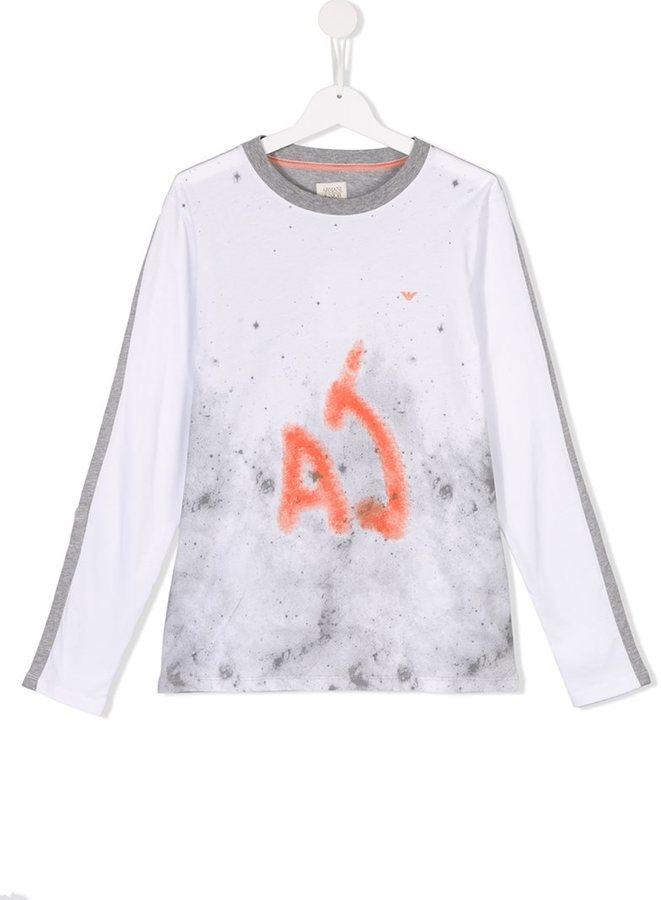 T-shirt manica lunga stampata bianca di Armani Junior