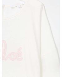T-shirt a maniche lunghe stampata bianca