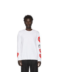 T-shirt manica lunga stampata bianca di Comme Des Garcons Play