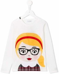 T-shirt manica lunga stampata bianca di Dolce & Gabbana