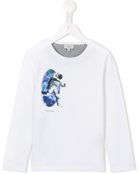 T-shirt manica lunga stampata bianca di Paul Smith
